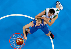 Milan Macvan of Serbia vs Erazem Lorbek of Slovenia during basketball game between National basketball teams of Slovenia and Serbia in 7th place game of FIBA Europe Eurobasket Lithuania 2011, on September 17, 2011, in Arena Zalgirio, Kaunas, Lithuania. Slovenia defeated Serbia 72 - 68 and placed 7th. (Photo by Vid Ponikvar / Sportida)