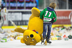 "25.11.2012, Hala Tivoli, Ljubljana, SLO, EBEL, HDD Telemach Olimpija Ljubljana vs HC TWK Innsbruck ""Die Haie"", 24. Runde, in picture Fans throws teddy bears after Brock McBride (HDD Telemach Olimpija, #10) scored a goal during the Erste Bank Icehockey League 22nd Round match between HDD Telemach Olimpija Ljubljana and HC TWK Innsbruck ""Die Haie"" at the Hala Tivoli, Ljubljana, Slovenia on 2012/11/25. (Photo By Matic Klansek Velej / Sportida)"