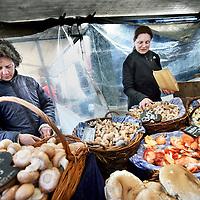 Nederland, Amsterdam , 7 april 2012..Noordermarkt..Zwammen en paddestoelenkraam tijdens de boerenmarkt op Noordermarkt.Foto:Jean-Pierre Jans