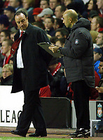 Photo: Javier Garcia/Back Page Images Mobile +447887 794393 Liverpool v Olimpiacos, UEFA Champions League 08/12/04, Anfield<br />Rafael Benitez checks the tactics board and sucessfully decides to chase the victory