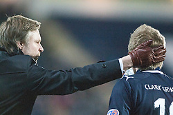 Steven Pressley, Falkirk manager pats Willie Gibson..Falkirk 1 v 1 Dundee..© Michael Schofield.