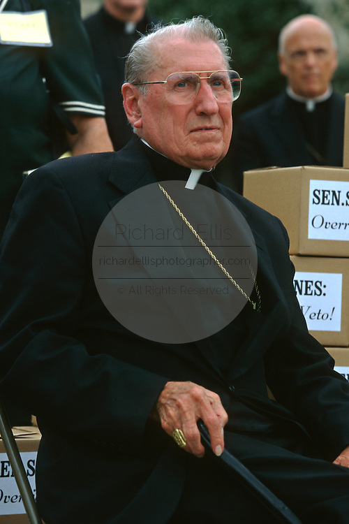 Catholic Cardinal John Joseph O'Connor, Archbishop of New York attends a pro-life rally September 12, 1996 in Washington, DC.
