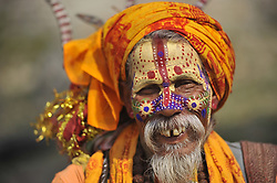 February 21, 2017 - Kathmandu, NP, Nepal - A smiling  Hindu Sadhu or Holy Man after offering ritual prayer at the premises of Pashupatinath Temple, Kathmandu, Nepal. Thousands of Hindu Sadhu or Holy man from India and Nepal come to celebrate Maha Shivaratri Festival on Friday, February 24, 2017 at Pashupatinath Temple in Nepal. (Credit Image: © Narayan Maharjan/NurPhoto via ZUMA Press)