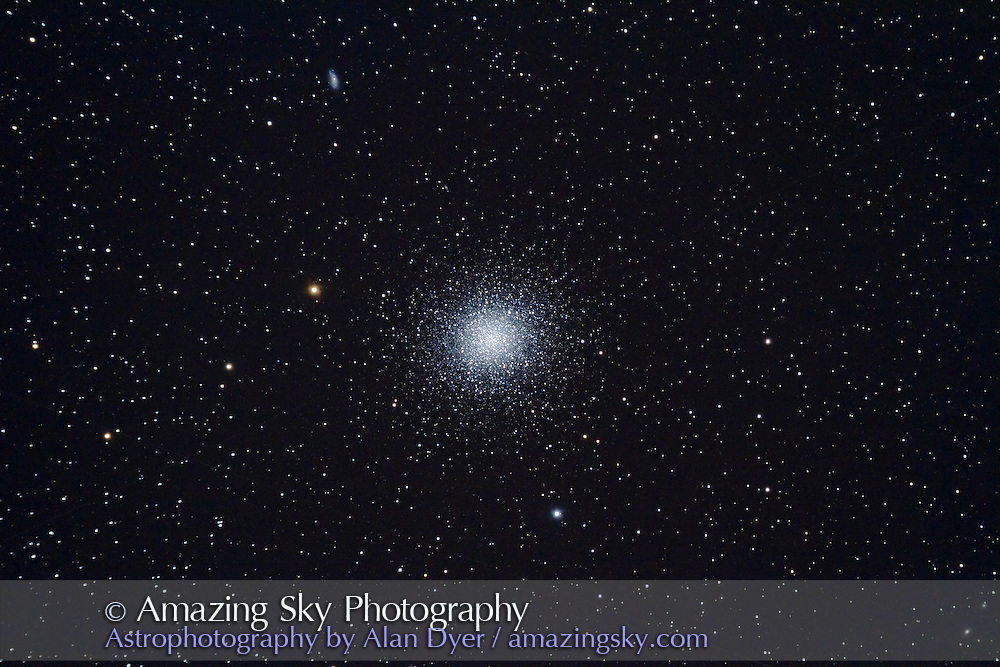 M13 with 130mm Astro-Physics apo at f/6 with no field flattener (slight camera tilt results in more coma at left of frame), for stack of 6 x 6 minute exposures at ISO 800 with Canon 7D (stock camera, not modified). Auto-guided with SG4. Worked perfectly. Slight rotation around guide star made it impossible for Photoshop to do an auto-align. Had to manually align.