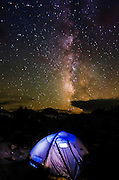 Tent under the Milky Way in Dusy Basin, Kings Canyon National Park, California USA