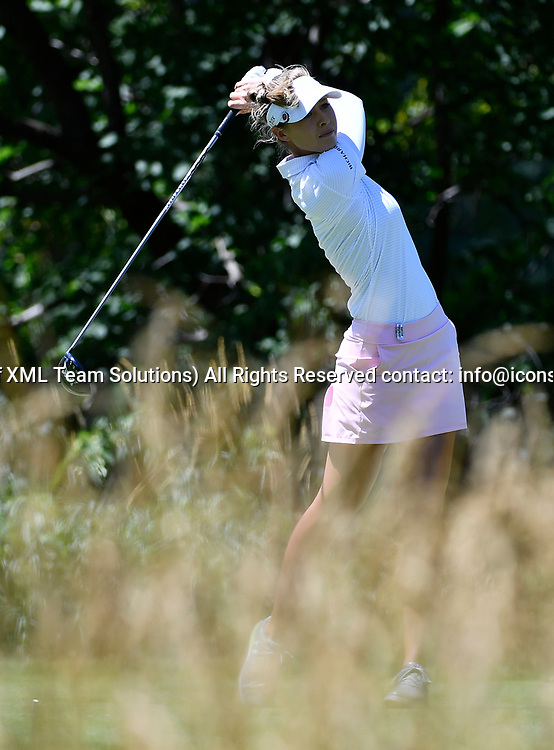 OLYMPIA FIELDS, IL - JULY 01: Nelly Korda plays the ball from the fifth tee during the third round of the 2017 KMPG PGA Championship at Olympia Fields on July 1, 2017 in Olympia Fields, Illinois. (Photo by Quinn Harris/Icon Sportswire)
