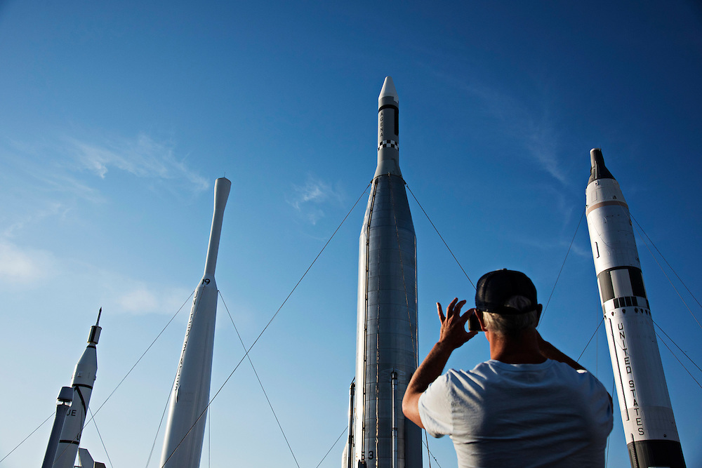CAPE CANAVERAL, FL | March 1, 2016<br /> Tourists flock to take pictures in the Rocket Garden at the Kennedy Space Center Visitor Complex.<br /> <br /> (Melissa Lyttle for The New York Times)