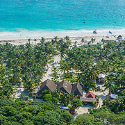 Aerial of the Tulum coastline. Riviera Maya, Mexico.