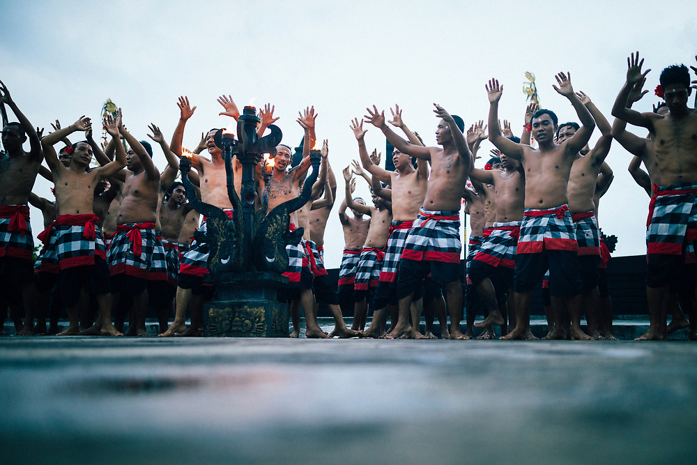 A traditional kecak performance at Ulawatu Temple in Bali, Indonesia.