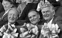 Ireland V Australia in an International Rules Football Series watched by An Taoiseach Charles Haughey and Australian Prime Minister Robert Hawke in Croke Park, 18/10/1987 (Part of the Independent Newspapers Ireland,NLI Collection).