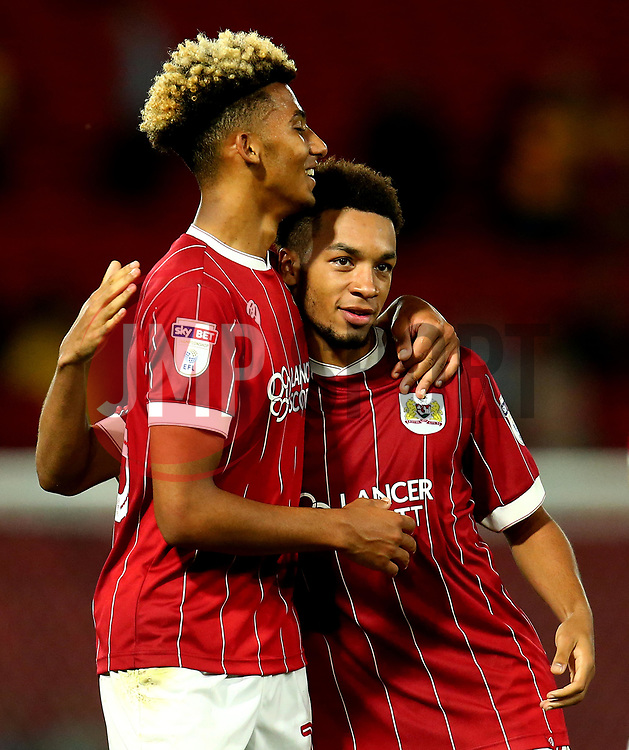 Lloyd Kelly and Freddy Hinds of Bristol City celebrate the 3-2 victory over Watford - Mandatory by-line: Robbie Stephenson/JMP - 22/08/2017 - FOOTBALL - Vicarage Road - Watford, England - Watford v Bristol City - Carabao Cup