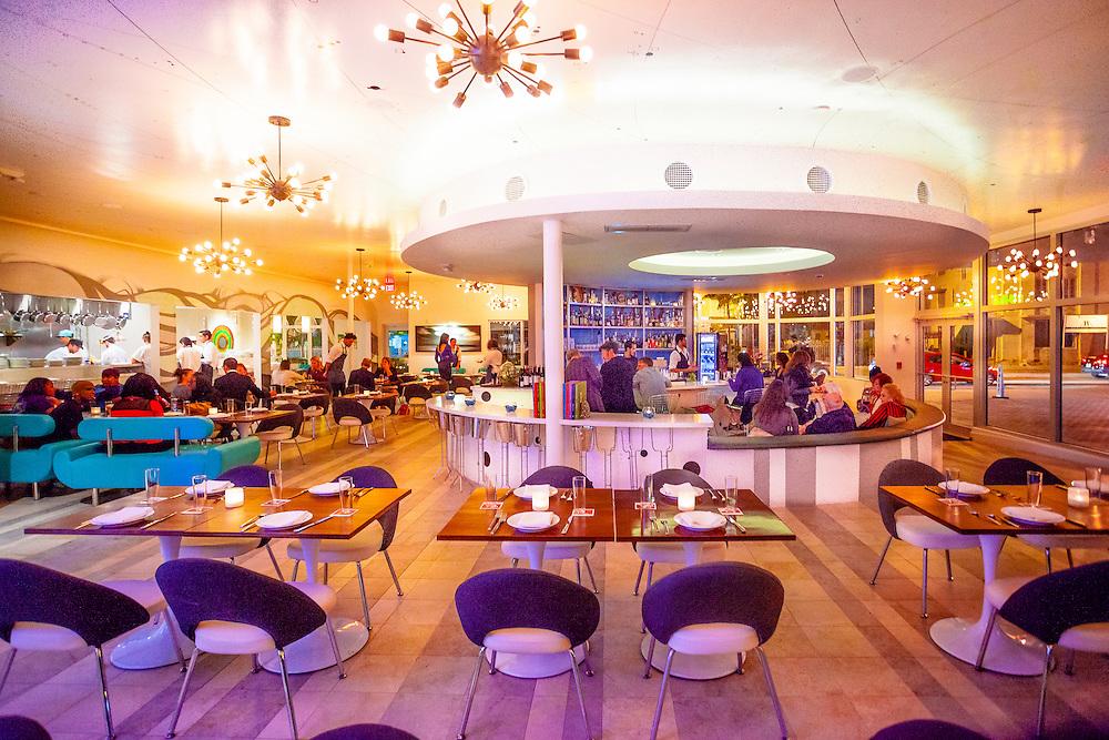 The neo-Miami Modern (MiMo) style  interior of the Vagabond Restuarant on Miami's trending Biscayne Boulevard