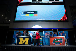 "The Michigan Wolverines and the Florida Gators participate in ""Battle for Bowl Week"" games at the College Football Hall of Fame on Wednesday, December 26, 2018, in Atlanta. Michigan will face Florida in the 2018 Chick-fil-A Peach Bowl NCAA football game on December 29, 2018. (Paul Abell via Abell Images for the Chick-fil-A Peach Bowl)"