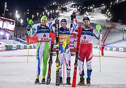11.02.2019, Aare, SWE, FIS Weltmeisterschaften Ski Alpin, alpine Kombination, Herren, Siegerpräsentation, im Bild v.l. Silbermedaillengewinner Stefan Hadalin (SLO), Alexis Pinturault (FRA, Weltmeister und Goldmedaillengewinner), Bronzemedaillengewinner Marco Schwarz (AUT) // f.l. Silver medalist Stefan Hadalin of Slovenia World champion and gold medalist Alexis Pinturault of France Bronze medalist Marco Schwarz of Austria during the winner presentation of the men's alpine combination for the FIS Ski World Championships 2019. Aare, Sweden on 2019/02/11. EXPA Pictures © 2019, PhotoCredit: EXPA/ Johann Groder