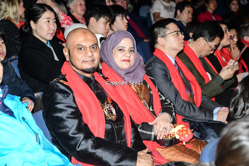 Cllr Humayun Kabir and wife attend the 2020 China-Britain Chinese New Year Extravaganza with 200 performers from over 20 art groups from both China and the UK showcase at Logan Hall on 18th January 2020, London, UK.