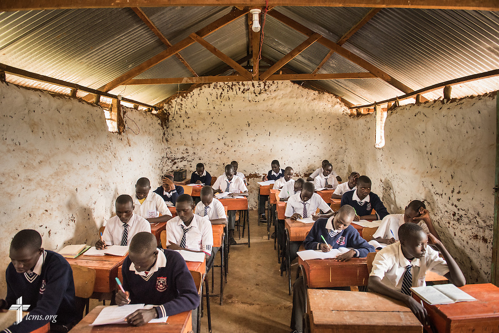 Students prepare for testing at St. Augustine School on Friday, June 24, 2016, near Chepareria, Kenya. The school is home to a graduate of the U-Dom ELCK (Evangelical Lutheran Church in Kenya) Project 24 site. LCMS Communications/Erik M. Lunsford