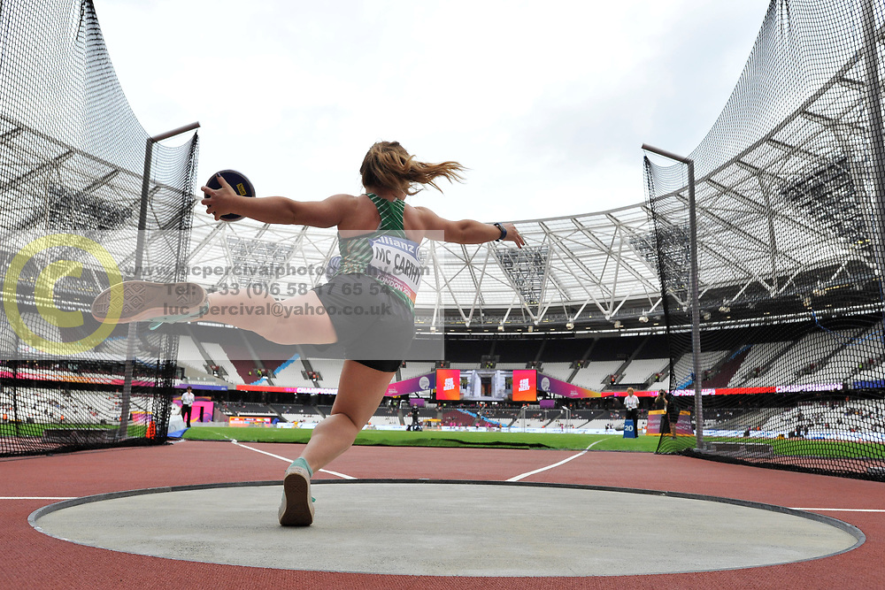 15/07/2017 : Niamh McCarthy, F41, Discus (Women's), at the 2017 World Para Athletics Championships, Olympic Stadium, London, United Kingdom