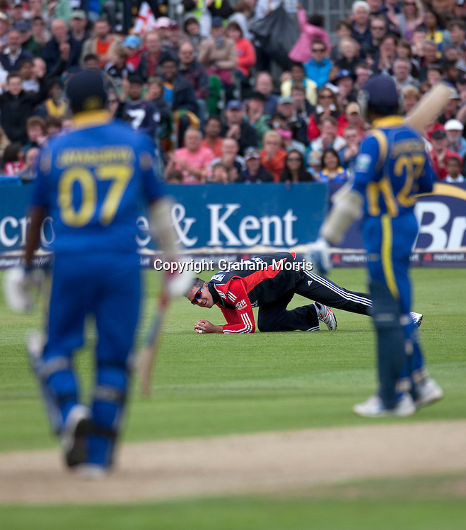 Kevin Pietersen catches Sanath Jayasuriya during the T20 international between England and Sri Lanka at Bristol.  Photo: Graham Morris /photosport.co.nz