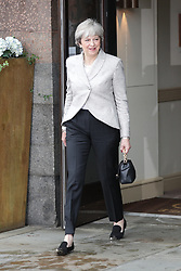 © Licensed to London News Pictures . 01/10/2017. Manchester, UK. Prime Minister THERESA MAY leaves the Midland Hotel to go to the BBC in Salford for the Marr Show. The Conservative Party Conference at the Manchester Central Convention Centre . Photo credit: Joel Goodman/LNP
