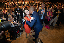 © Licensed to London News Pictures . CORRECT DATE: 16/09/2019. Bournemouth, UK. CHUKA UMUNNA and JO SWINSON embrace in the conference hall after UMUNNA delivers his conference speech . The Liberal Democrat Party Conference at the Bournemouth International Centre . Photo credit: Joel Goodman/LNP