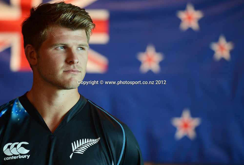 Corey Anderson, New Zealand Black Caps photoshoot and portrait / headshots session. International Cricket. Novotel Hotel, Auckland. 12 December 2012. Photo: Andrew Cornaga/photosport.co.nz