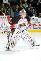 KELOWNA, CANADA, OCTOBER 26: Drew Owsley #30 of the Prince George Cougars defends the net as Prince George Cougars visit the Kelowna Rockets  on October 26, 2011 at Prospera Place in Kelowna, British Columbia, Canada (Photo by Marissa Baecker/Shoot the Breeze) *** Local Caption *** Drew Owsley;