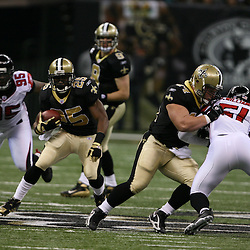 2007 October, 21: New Orleans Saints running back Reggie Bush (25) looks for running room during a 22-16 win by the New Orleans Saints over the Atlanta Falcons at the Louisiana Superdome in New Orleans, LA.