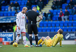 St Johnstone's keeper Alan Mannus injured. St Johnstone 2 v 4 Ross County. SPFL Ladbrokes Premiership game played 19/11/2016 at St Johnstone's home ground, McDiarmid Park.