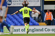 Brighton striker, Tomer Hemed makes it 3-2 to Brighton during the Sky Bet Championship match between Ipswich Town and Brighton and Hove Albion at Portman Road, Ipswich, England on 29 August 2015.