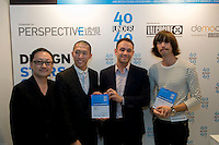 The laureates of the 40 Under 40 Perspective awards for Product Design: Joseph Ng (2nd from left), Billy Potts and Ben McCarthy.