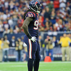 Nov 29, 2015; Houston, TX, USA; Houston Texans outside linebacker Jadeveon Clowney (90) against the New Orleans Saints during a game at NRG Stadium. Mandatory Credit: Derick E. Hingle-USA TODAY Sports