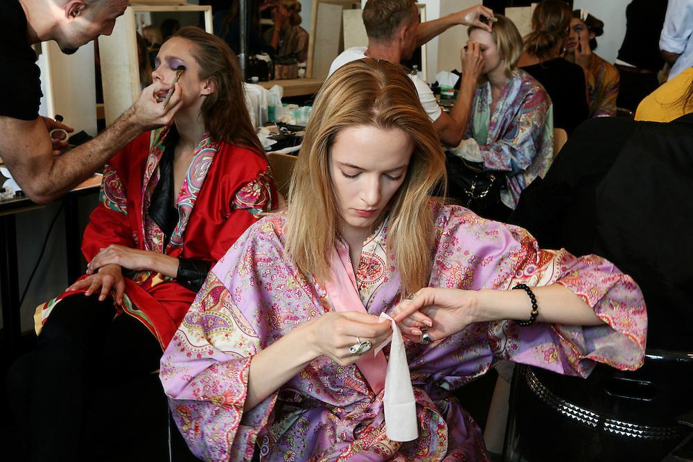 Milan, Italy, September 24, 2010. Backstage at Etro during the Milan Women's Fashion Week Spring/Summer 2011.