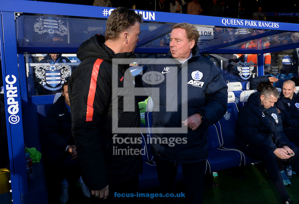 Manager of Queens Park Rangers Harry Redknapp and Manager of Manchester United Louis Van Gaal shake hands during the Barclays Premier League match at the Loftus Road Stadium, London<br /> Picture by Andrew Timms/Focus Images Ltd +44 7917 236526<br /> 17/01/2015