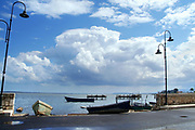Seascape on the Marina di Lesina harbor in Puglia, southern Italy.