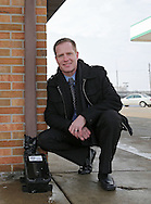 Darin Luneckas, owner/inventor of Slick Shield at Hawkeye Convenience Store in Hiawatha on Monday, February 25 2013.