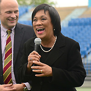 May 15, 2014, New Haven, Connecticut:<br /> Mayor of New Haven Toni Harp gives remarks during a free tennis lesson and clinic Thursday, May 15, 2014 in advance of the 2014 New Haven Open at the Yale University Tennis Center in New Haven, Connecticut. <br /> (Photo by Billie Weiss/New Haven Open)