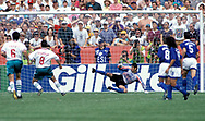 FIFA World Cup - USA 1994<br /> 26.6.1994, Soldier Field Stadium, Chicago, Illinois.<br /> Group D, Bulgaria v Greece.<br /> Hristo Stoichkov scores from the penalty spot for Bulgaria, Greek goalkeeper Ilias Atmatzidis goes the wrong way.
