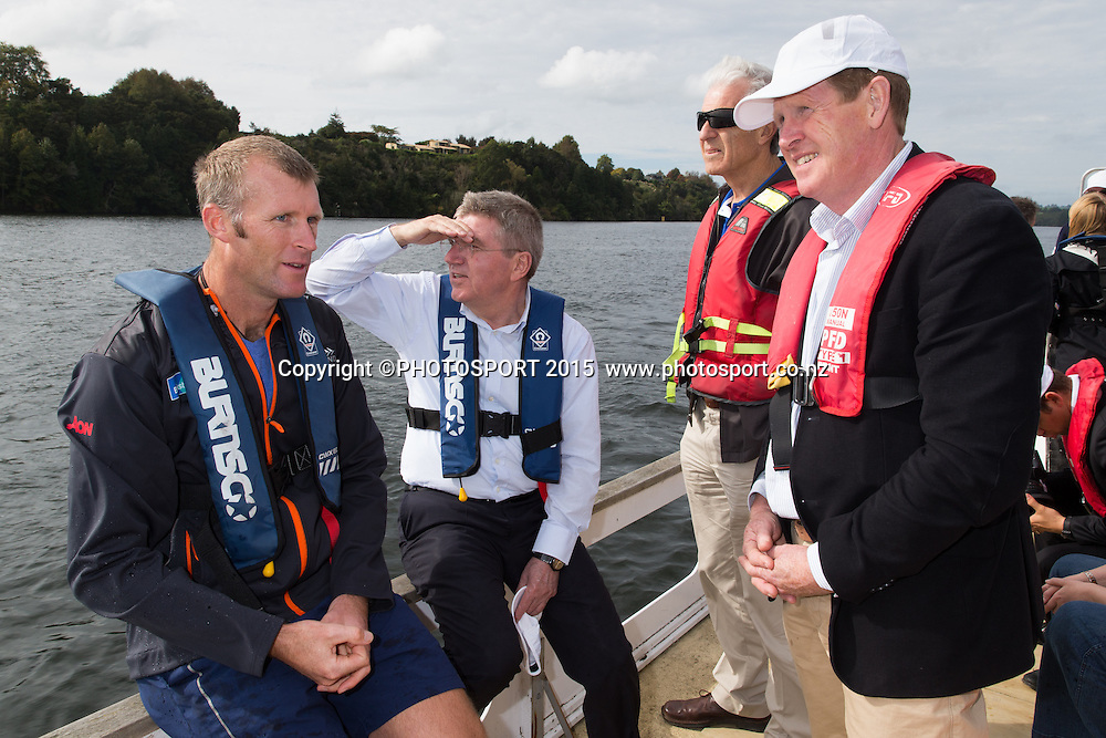 Mahe Drysdale, IOC president Thomas Bach, Barry Maister (NZ IOC member) and Mike Stanley (NZ IOC) on a barge at the Rowing NZ Media Day, Lake Karapiro, Cambridge, New Zealand, Wednesday 6 May 2015. Photo: Stephen Barker/Photosport.co.nz