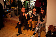 ANDREW HANCOCK; HARUKA ONO; TINTIN COOPER, Screening of Ignored and Rejected.-  Eleanor Lindsay-Fynn. Top Floor, Hoxton Sq. London. 25 October 2011.<br />  , -DO NOT ARCHIVE-© Copyright Photograph by Dafydd Jones. 248 Clapham Rd. London SW9 0PZ. Tel 0207 820 0771. www.dafjones.com.