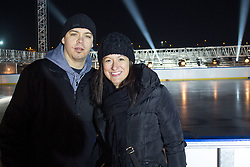 Jerry Kuhn of HDD Telemach Olimpija and Amanda Lynea Bagozzi at preparation of stadium Bezigrad for Winter Classic of HDD Olimpija Ice Fest 2013, on January 2, 2013 in Stadium Bezigrad, Ljubljana, Slovenia. (Photo By Matic Klansek Velej / Sportida.com)