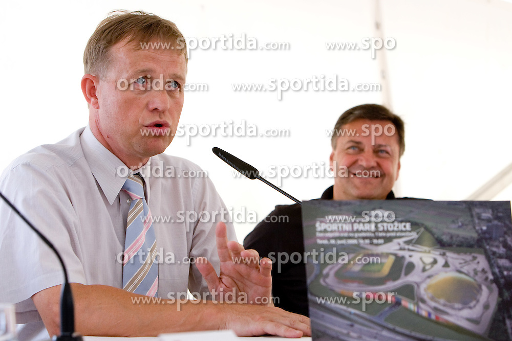Uros Ogrin of GREP and Mayor of Ljubljana Zoran Jankovic at press conference open door day 1 year before opening of new football stadium and sports hall in Stozice,  on June 30, 2009, at Stadium Stozice, Ljubljana, Slovenia. (Photo by Vid Ponikvar / Sportida)