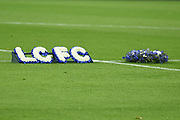 Wolves CEO lays wreaths of flowers on the pitch in support of Leicester City after the tragic events of last Saturday evening during the Premier League match between Wolverhampton Wanderers and Tottenham Hotspur at Molineux, Wolverhampton, England on 3 November 2018.