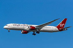 Boeing 787-9 Dreamliner (G-VFAN) operated by Virgin Atlantic on approach to San Francisco International Airport (KSFO), San Francisco, California, United States of America