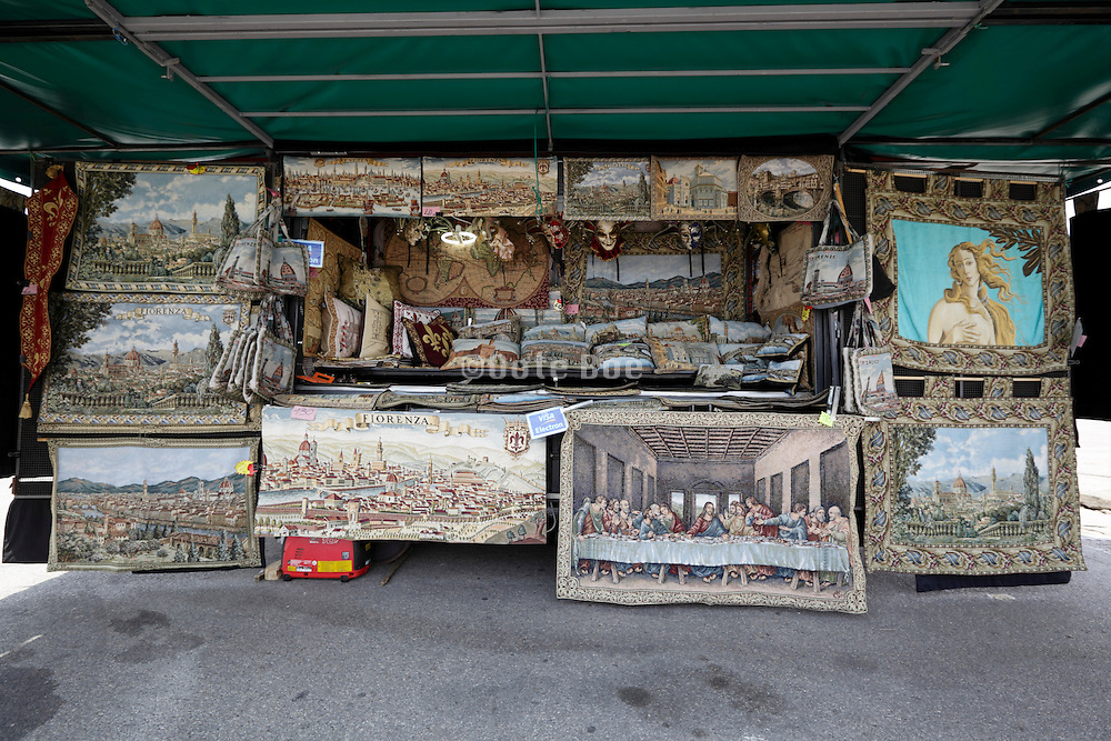 for tourist souvenir stall with classical Italian painting reproductions