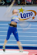 Lotto's advertise banner while women's shot put at penthathon competition during the IAAF Athletics World Indoor Championships 2014 at Ergo Arena Hall in Sopot, Poland.<br /> <br /> Poland, Sopot, March 7, 2014.<br /> <br /> Picture also available in RAW (NEF) or TIFF format on special request.<br /> <br /> For editorial use only. Any commercial or promotional use requires permission.<br /> <br /> Mandatory credit:<br /> Photo by &copy; Adam Nurkiewicz / Mediasport
