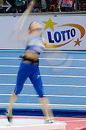 Lotto's advertise banner while women's shot put at penthathon competition during the IAAF Athletics World Indoor Championships 2014 at Ergo Arena Hall in Sopot, Poland.<br /> <br /> Poland, Sopot, March 7, 2014.<br /> <br /> Picture also available in RAW (NEF) or TIFF format on special request.<br /> <br /> For editorial use only. Any commercial or promotional use requires permission.<br /> <br /> Mandatory credit:<br /> Photo by © Adam Nurkiewicz / Mediasport