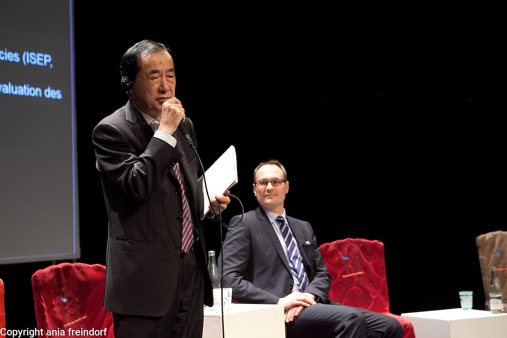 "Conference ""Fukushima, nuclear accident - four years later"", Green Cross Paris, France, (left) Naoto Kan former Prime Minister of Japan, he resigned six months after the Fukushima nuclear accident, (right) COO Green Cross International Adam Koniuszewski,"