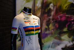 Pride of place in the Dolmans Landscaping office reception in Bunde  at the 119 km Stage 6 of the Boels Ladies Tour 2016 on 4th September 2016 from Bunde to Valkenburg, Netherlands. (Photo by Sean Robinson/Velofocus).