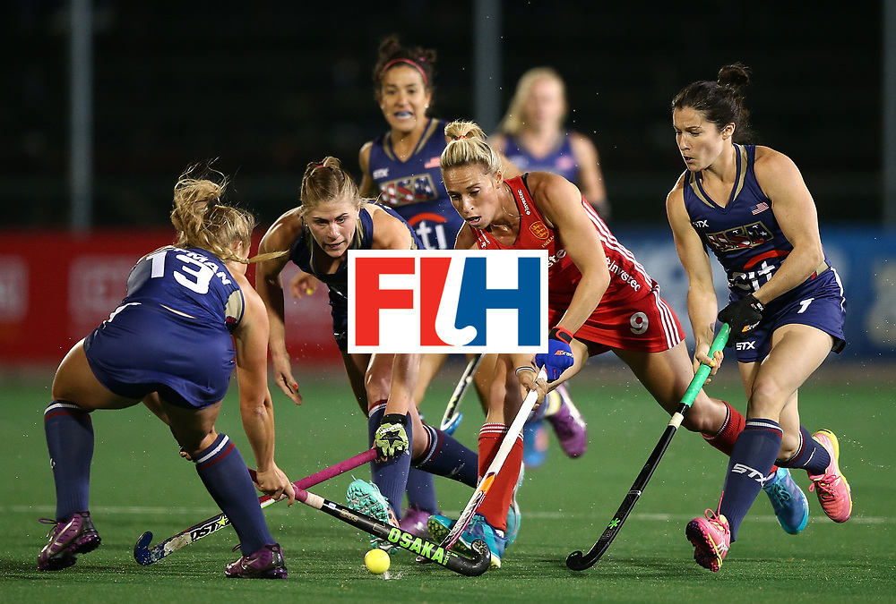 JOHANNESBURG, SOUTH AFRICA - JULY 20:  Susannah Townsend of England battles with Ashley Hoffman and Michelle Vittese of United States of America during day 7 of the FIH Hockey World League Women's Semi Finals semi final match between England and United Staes of America at Wits University on July 20, 2017 in Johannesburg, South Africa.  (Photo by Jan Kruger/Getty Images for FIH)