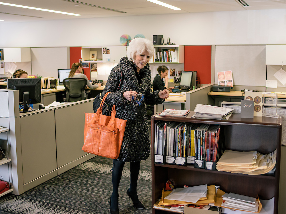 Diane Rehm says goodbye to her staff at her offices in Washington, D.C. on Feb. 5 2015.